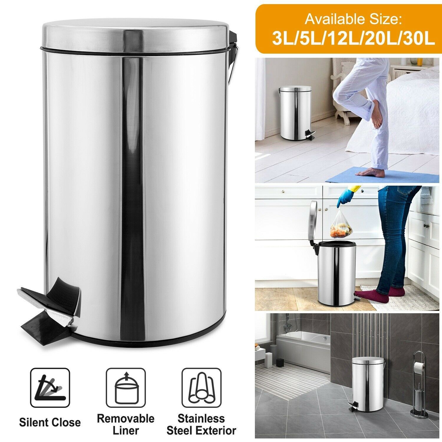 Details About Step Trash Can Garbage Bin Lid Kitchen Office Round Stainless Steel Dustbin Trash Can Garbage Bin Office Bin