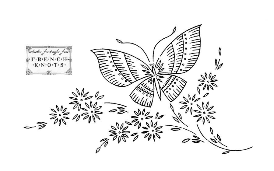 Daisies Butterflies And Bonnet Embroidery Transfer Patterns