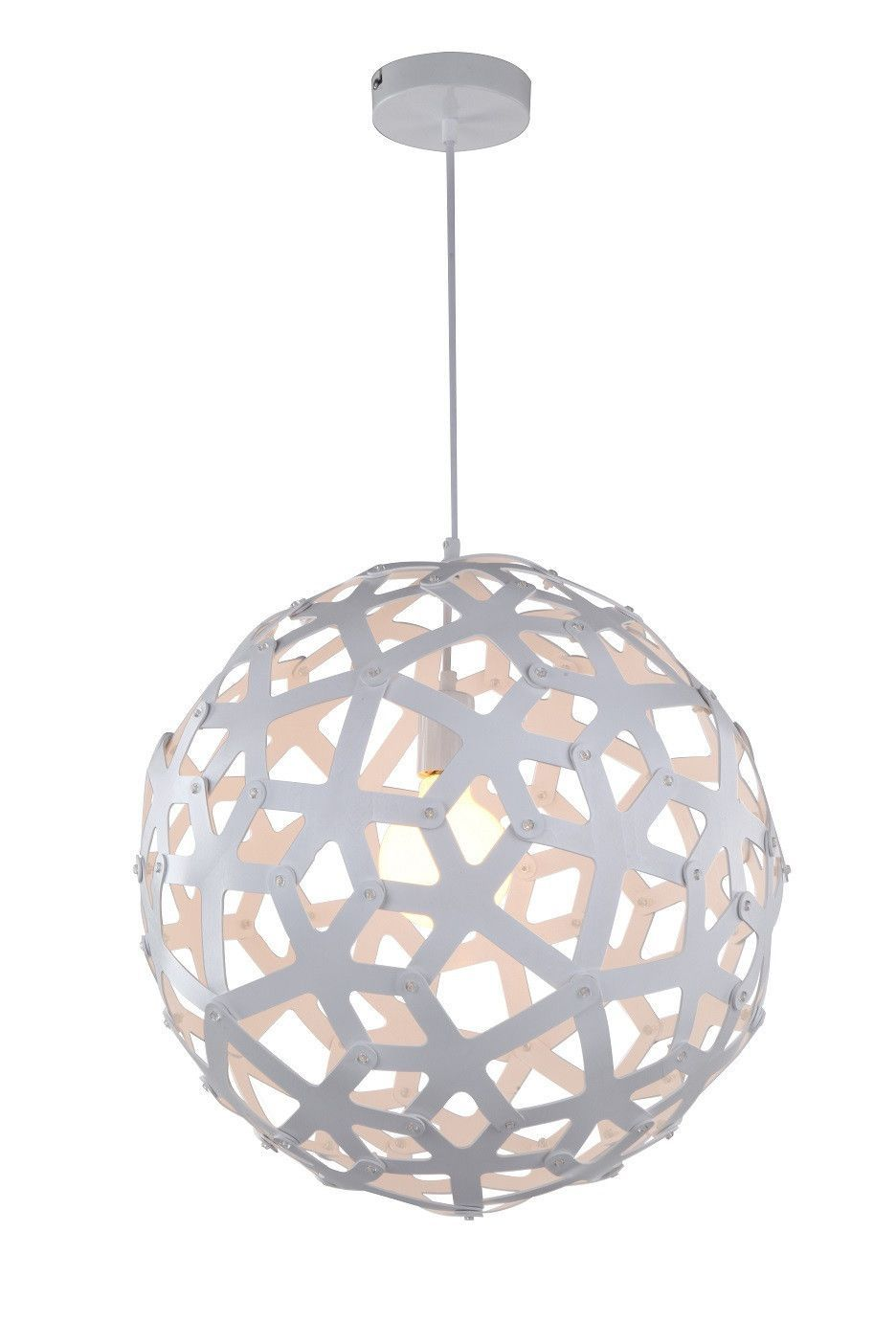 Large Wood Sphere Light Fixture White With Bulb Turned On