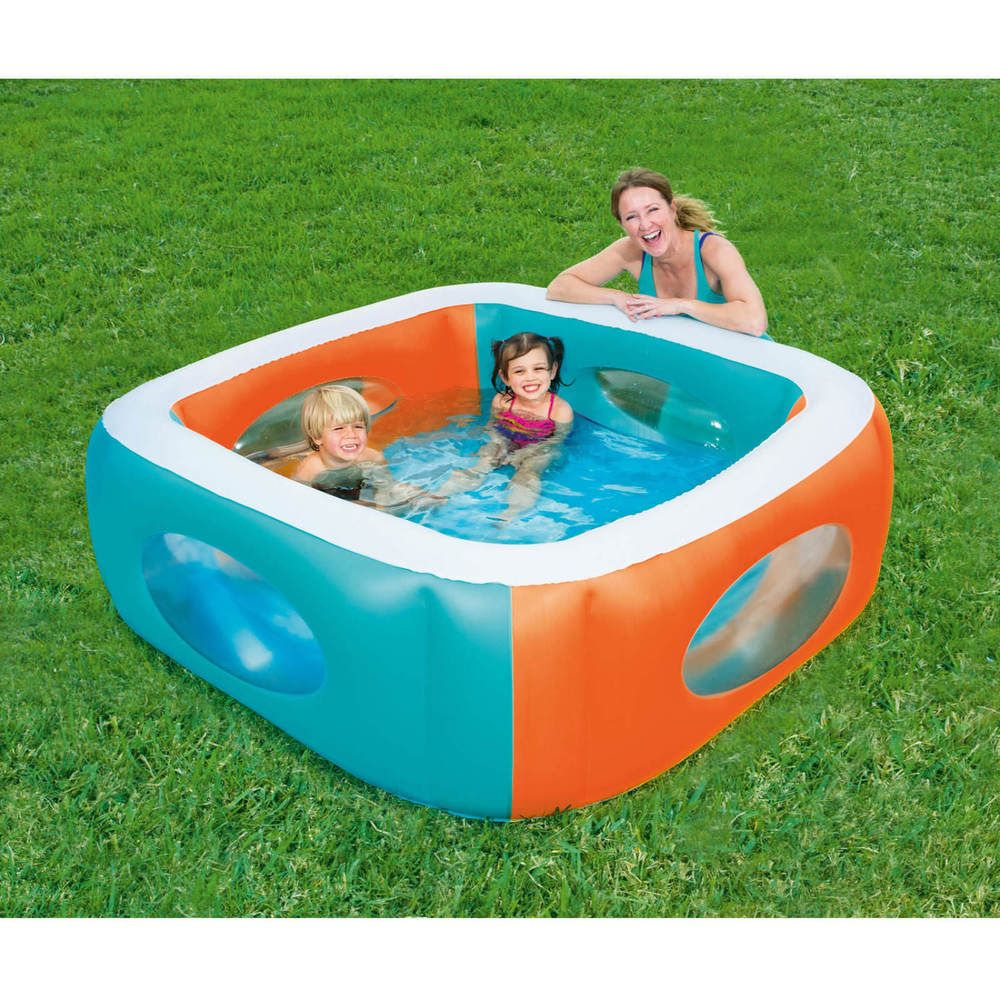 Inflatable Swimming Pool Kiddie Air Blown Square With Window Pools Outdoor Swim H2ogo Inflatable Pool Kids Swimming Swimming Pools Backyard