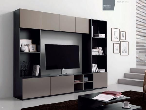 Contemporary Moon Wall Storage System With Shelving And Tv Unit