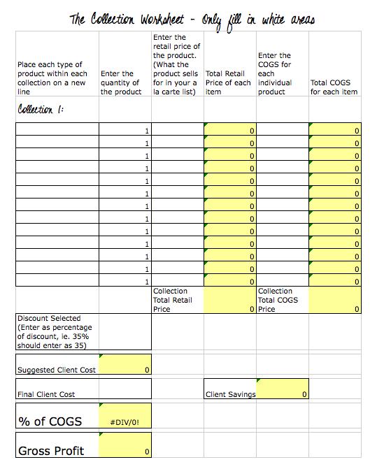 Creating Profitable Pricing Worksheet