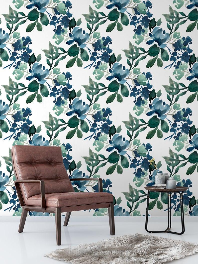 Flora Deep Greens Floral Removable Wallpaper Vintage Peel Etsy Removable Wallpaper Temporary Wallpaper Wallpapers Vintage