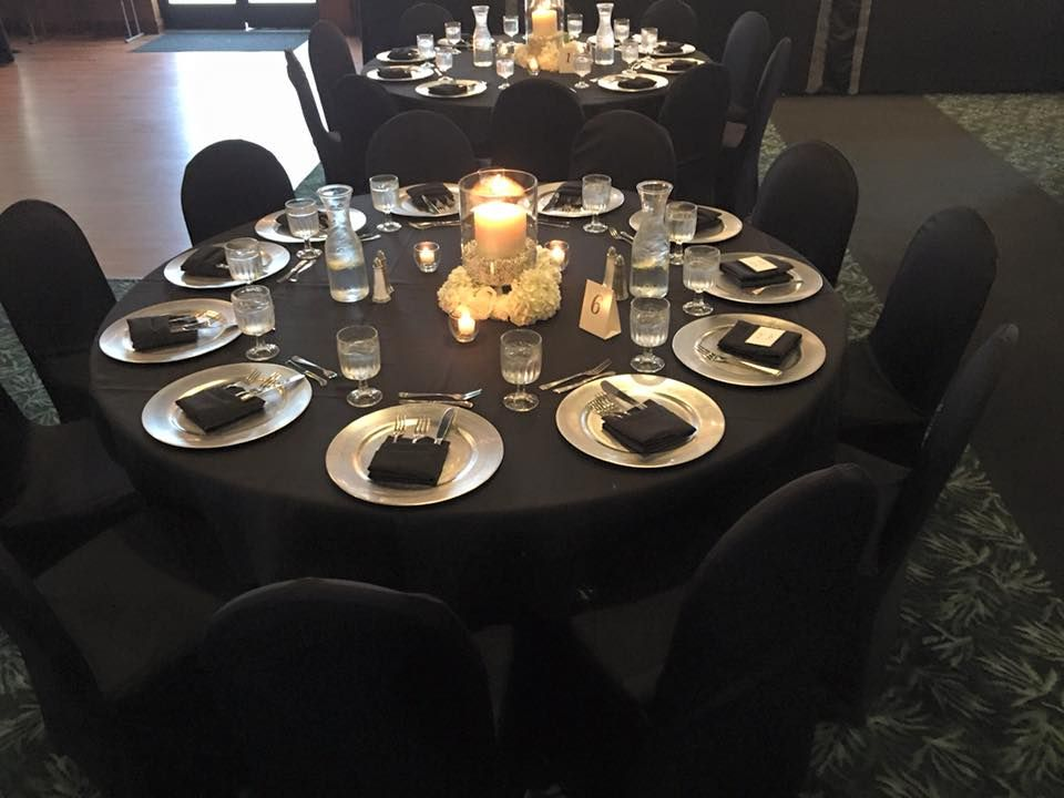 Black Linen With Silver Charger Black Napkin Black Chair Cover