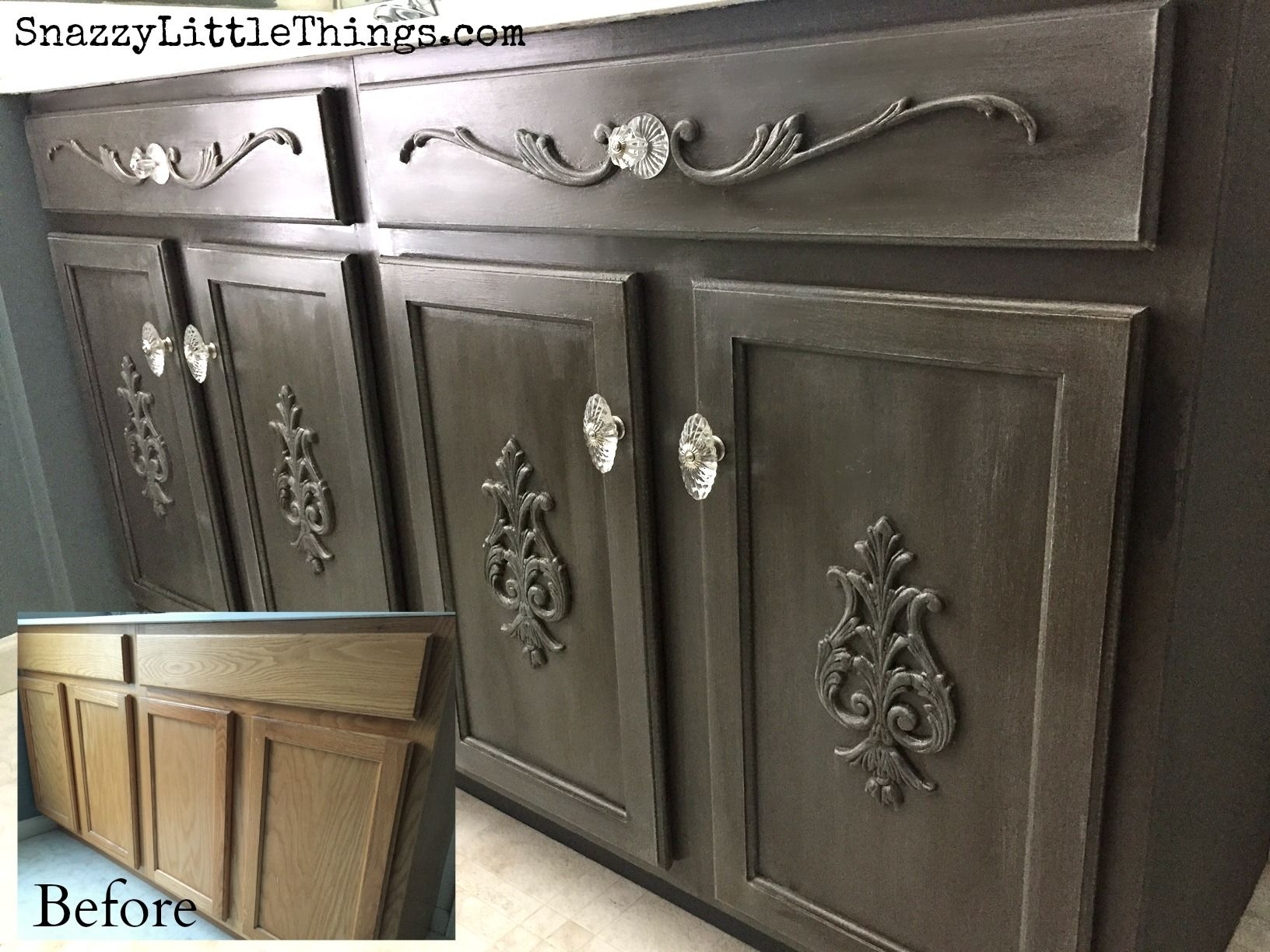A Builders Grade Vanity Gets Facelift With Paint Wood Embellishments How I Did It Is On The Blog By Snazzylittlethings