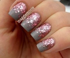 Grey And Pink Sparkle Ombre Nails Prom Nails Pink Nails Trendy Nails