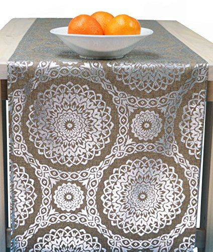 Marvelous Silver Christmas Holiday Table Runner Silver In 72 Inches, 90 Inches, 96  Inches, 108 Inches, 120 Inches Long Sizes, Wide Table Runner   Silver  Medallion (96 ...