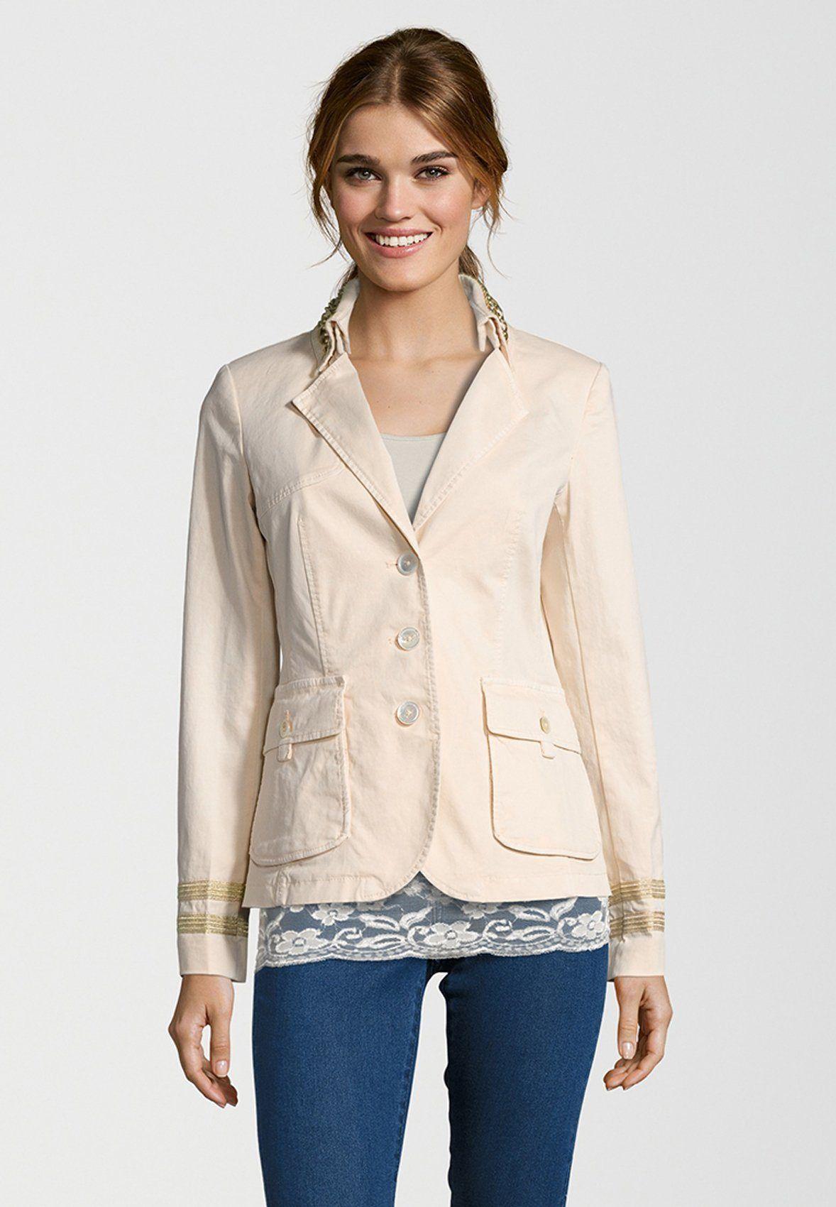 Damen Blonde No.8 Jackenblazer MONACO GOLD Zierbänder am Ärmelsaum rosa |  04058759087878 - Kategorie