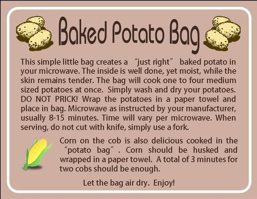 Instruction Card For Potato Bag Made For Someone For Their Up