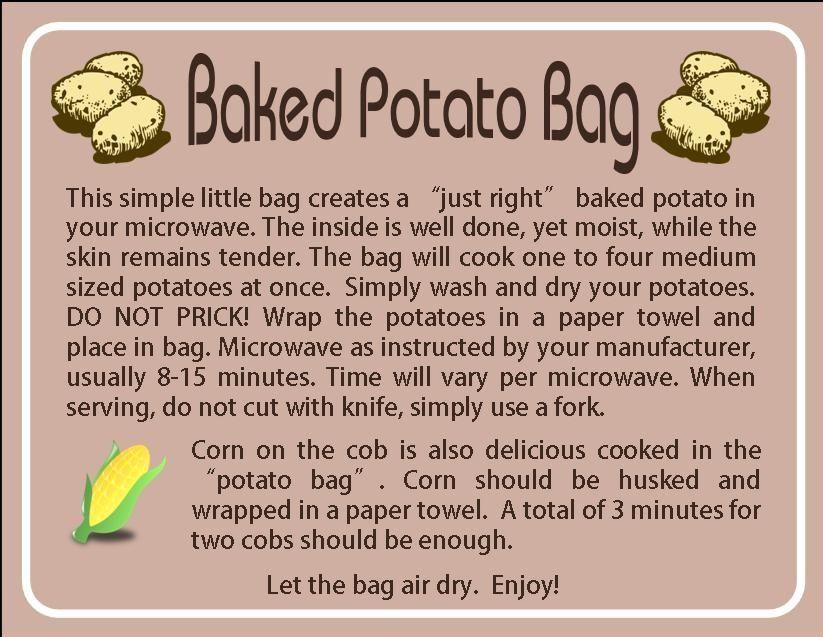 Instruction Card For Potato Bag Made Someone Their