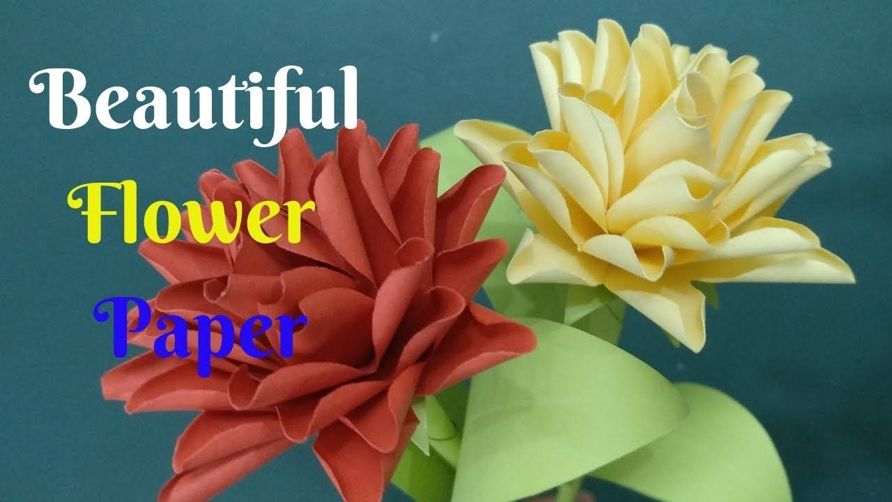How To Make Beautiful Paper Stick Flower Diy Flower Paper Crafts
