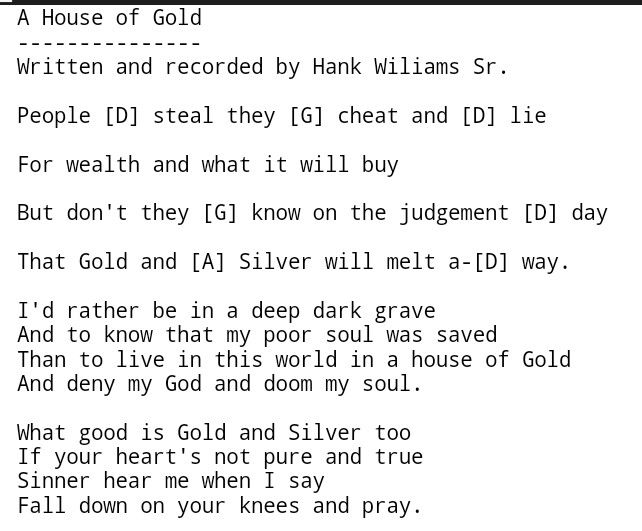 House Of Gold Hank Williams Sr Country Gospel Chords Guitar
