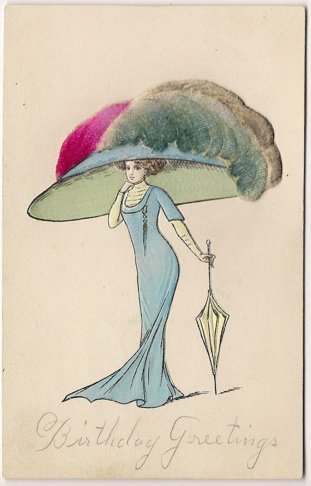 Woman With Huge Hat, Chenille Applied Postcard 1910