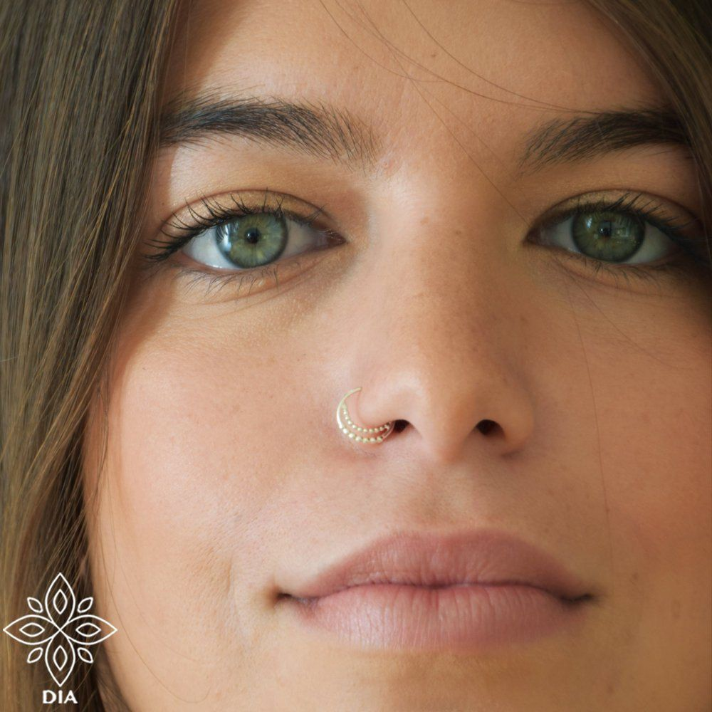 Crescent Nose Ring Hoop 14k Solid Gold Nose Piercing Moon Nose Etsy In 2020 Thin Nose Ring Double Nose Ring Nose Rings Hoop