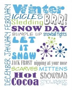Subway art subway art winter and free printables pronofoot35fo Image collections