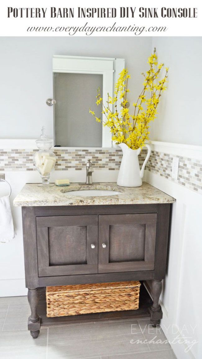 Learn How To Make Your Own DIY Pottery Barn Inspired Sink Console With Our  Easy Tips! Guest Bath Remodel   Make For Double Sink Vanity