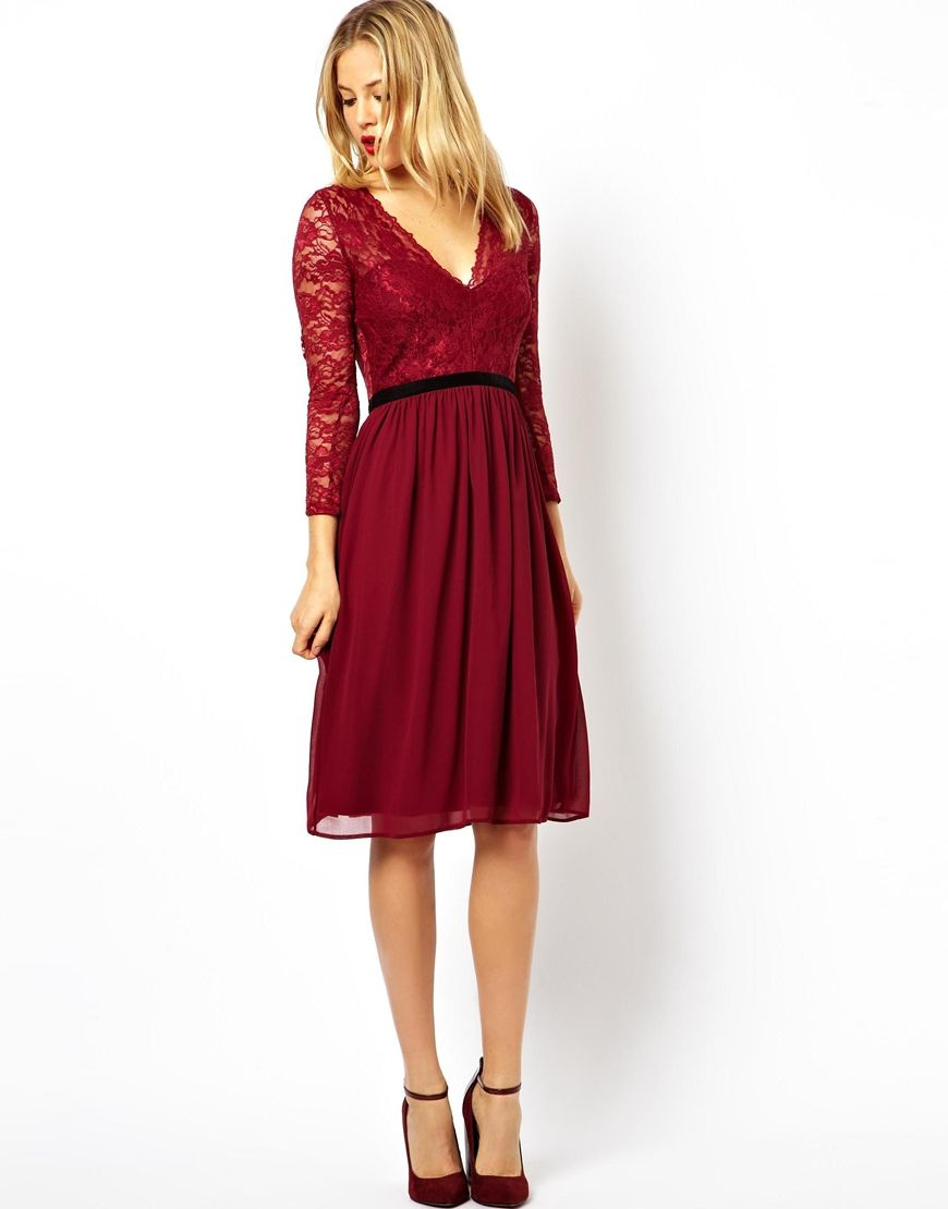 ASOS Lace Mix Midi Dress