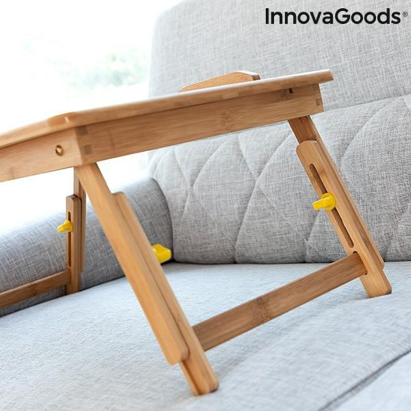 Bamboo Folding Side Table Lapwood InnovaGoods