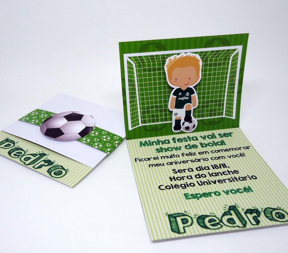 Convite Futebol    - Impresso em Papel Fotográfico 180grs
