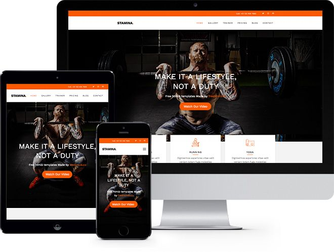 Stamina: Free HTML5 Bootstrap Template for Fitness Websites - Free ...