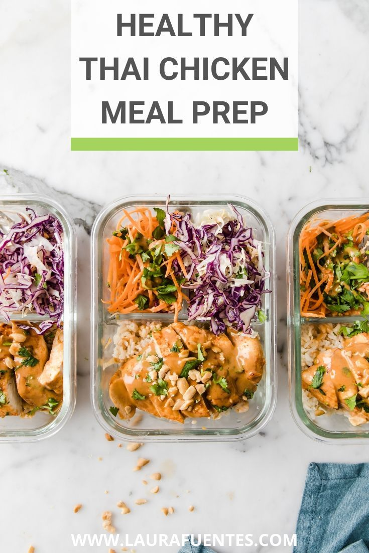These Thai Chicken Bowls are the perfect healthy Asian take out recipe that's also an easy chicken meal prep recipe for the week! @perduefarms #perdurfarms_partner