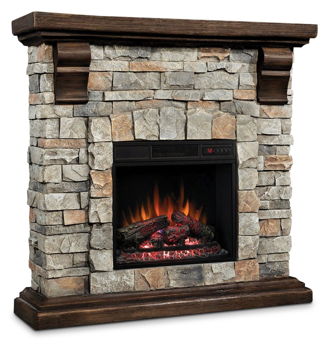 The Pioneer Fireplace Boasts Stone Detailing Engineered To Look And Feel Like Real Stone An Infrared Fir Stone Electric Fireplace Fireplace Electric Fireplace