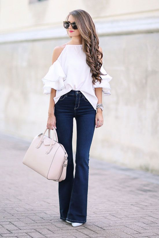 The Best Outfit Ideas Of The Week | White cold shoulder top Outfit night and White heels