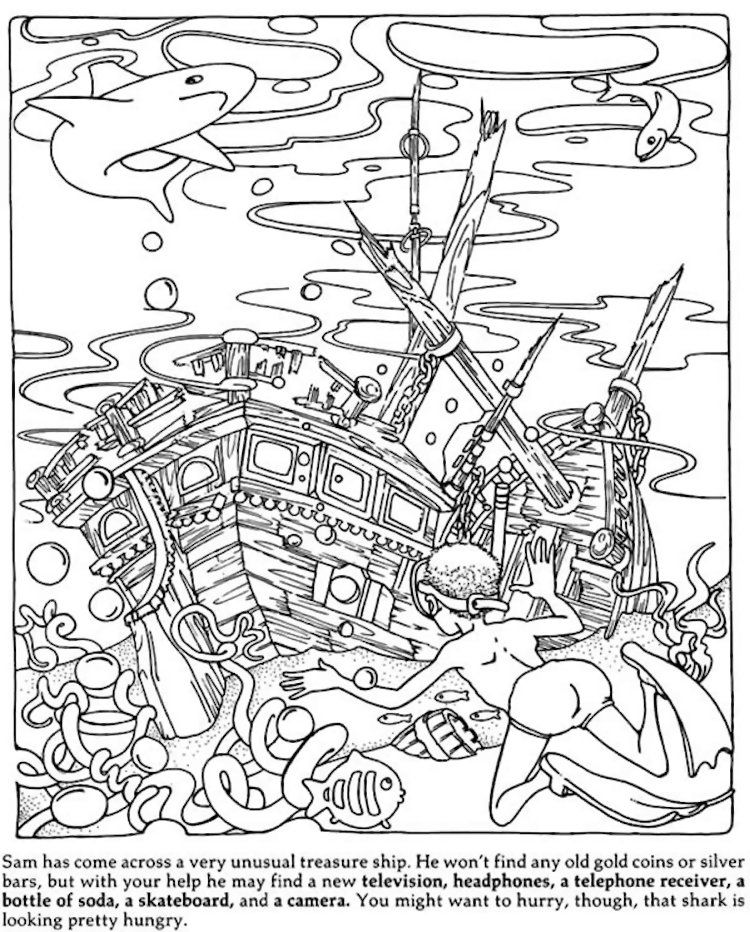 Dover Hidden Objects Coloring Page