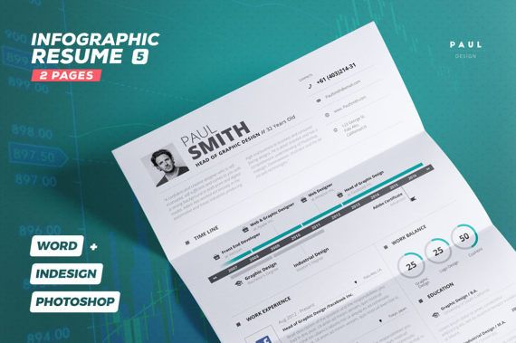 Infographic Resume Vol. 5 2 Pages Word and Indesign Template ...
