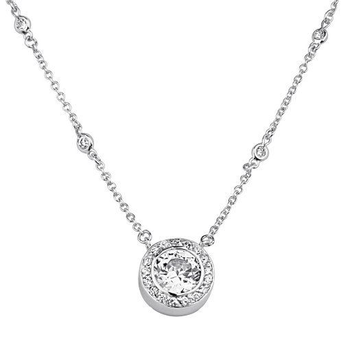 AmberDesire Sterling Silver Necklace-Butterflies Cubic Zirconia Necklace