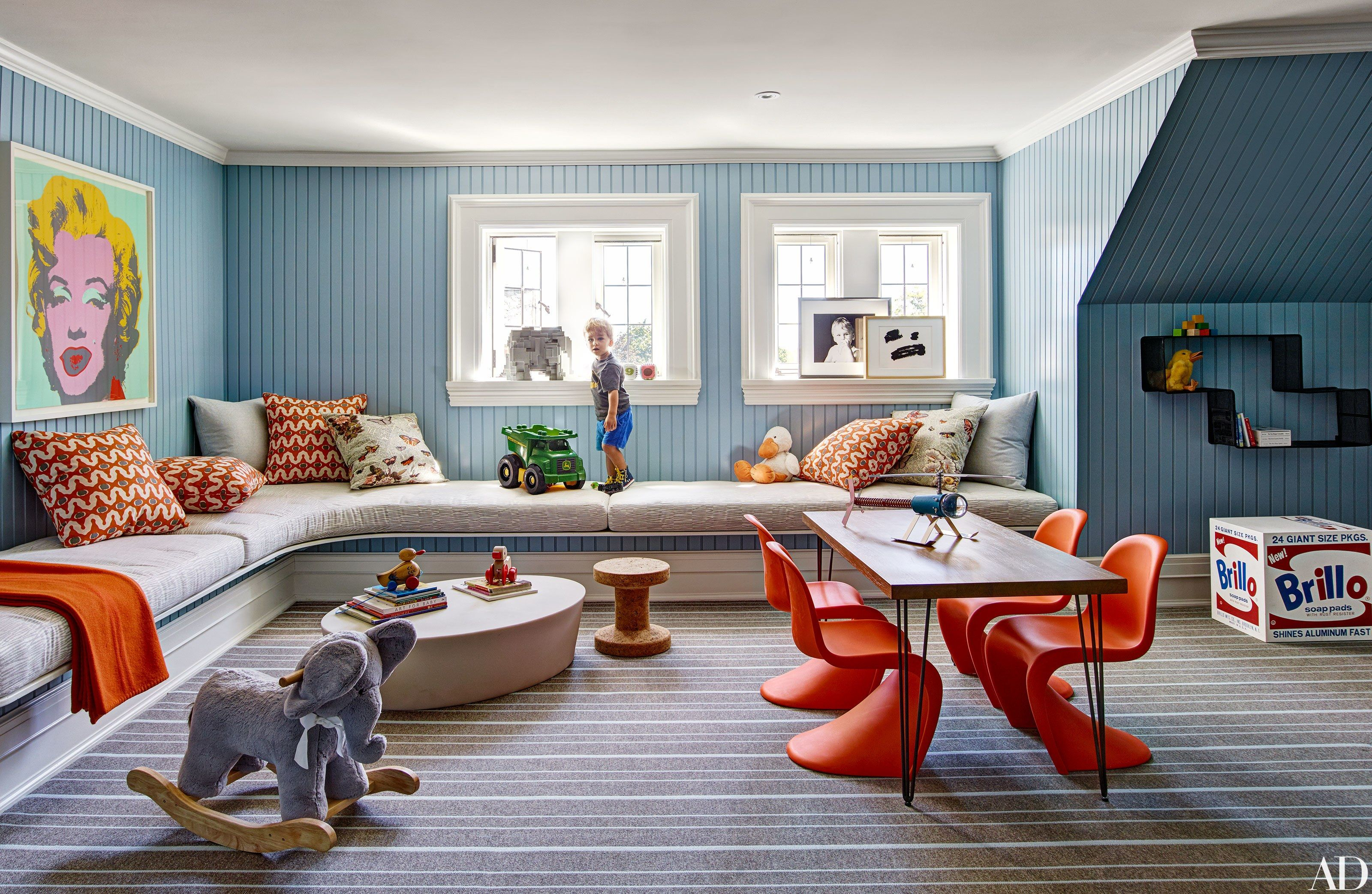 manhattan interiors drew aaron and hana soukupova s manhattan apartment A childrenu0027s playroom is enlivened by colorful accents and an Andy Warhol  portrait | archdigest.com