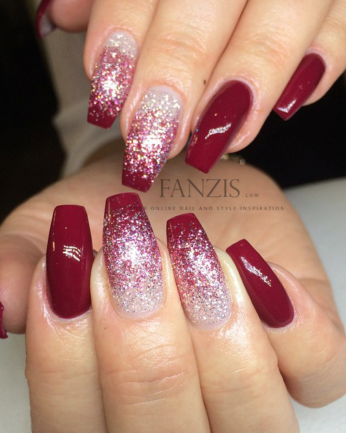 red white glitter ombre nails \u2026