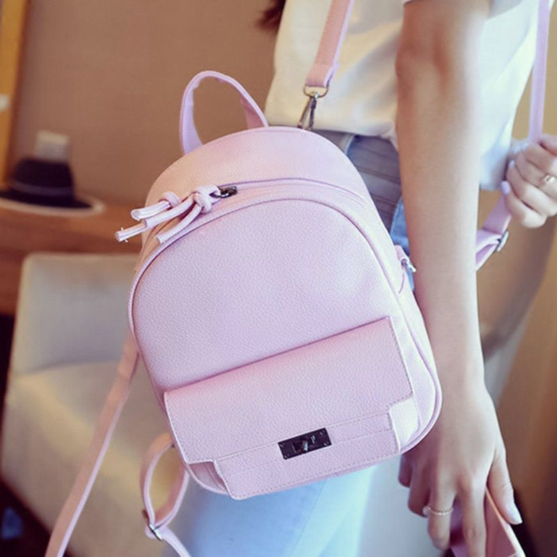 Girl Pink Black Small Mini Bags Crossbody Bag Travel Mochila Leather  Backpack a2012a79de