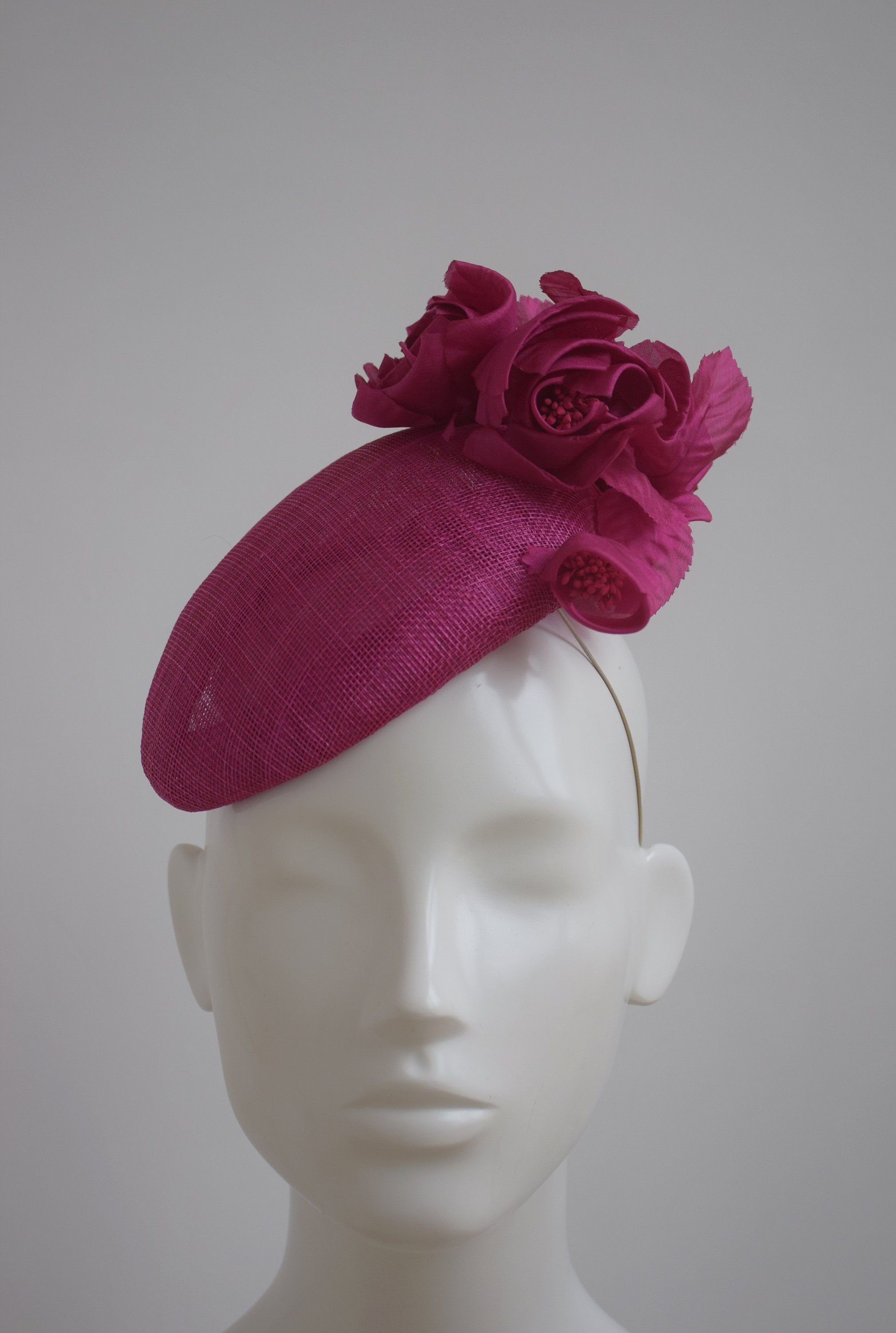 Pink Hatinator Cerise Fascinator Dark Percher Hat Occasion Tail Wedding Ascot Las Day By