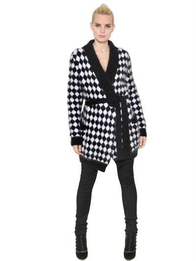 BALMAIN - DIAMOND ANGORA JACQUARD CARDIGAN - BLACK/WHITE