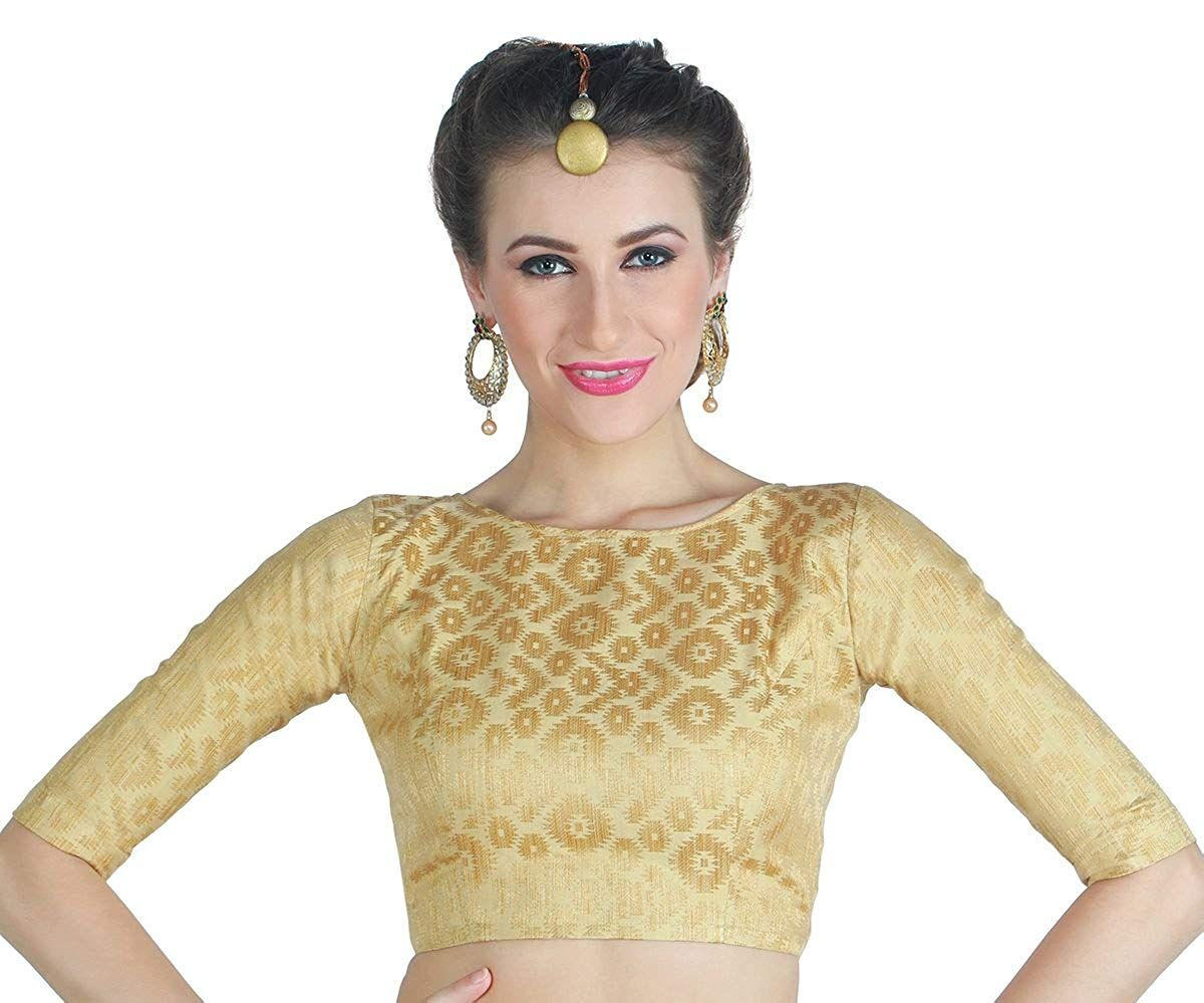 59f93efd7a4d88 Studio Shringaar Women's Golden Brocade Saree Blouse.: Amazon.in: Clothing  & Accessories