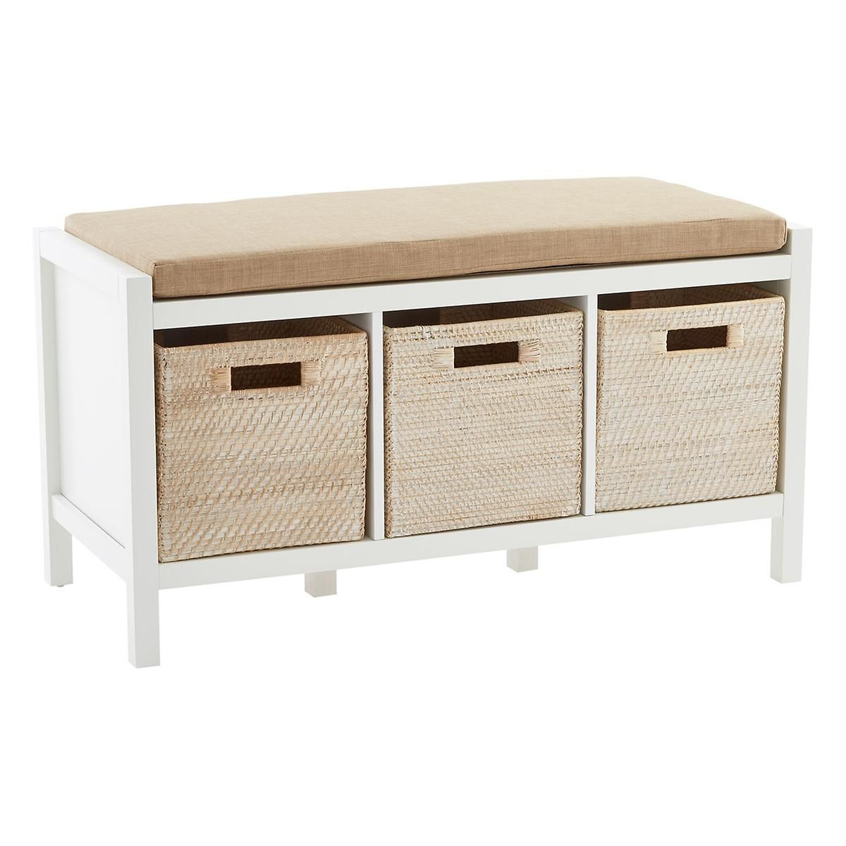 White Division Entryway Storage Bench with Cushion | Banco de ...