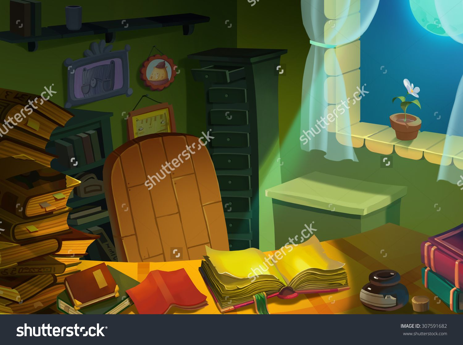 Cartoon dog stock photos images amp pictures shutterstock - Illustration Library Room At Night Realistic Cartoon Style Fantasy Scene Wallpaper