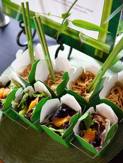 Brightly colored to-go boxes & chopsticks