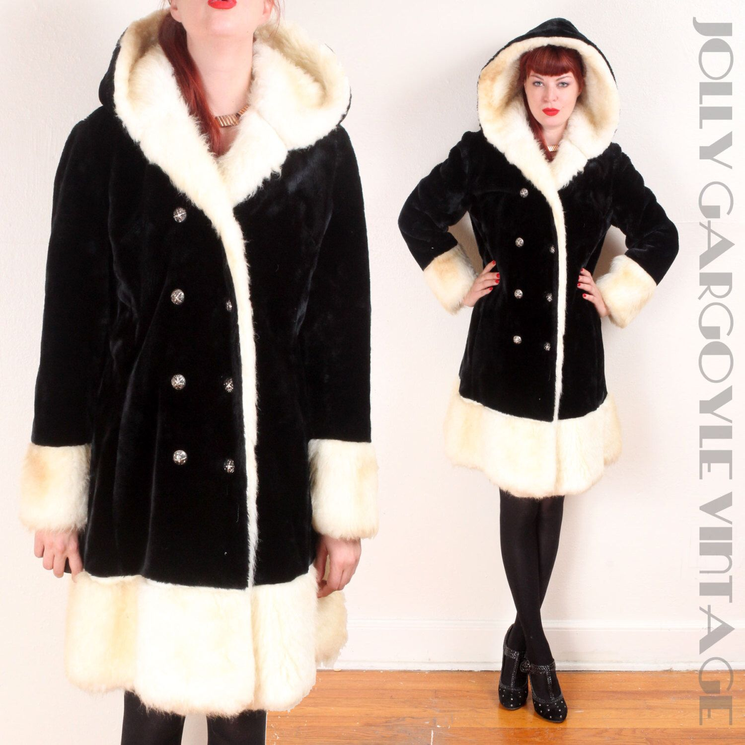 Vintage 1960s faux fur shearling black and cream white hooded princess coat - SM to MD by TheJollyGargoyle on Etsy https://www.etsy.com/listing/251077322/vintage-1960s-faux-fur-shearling-black