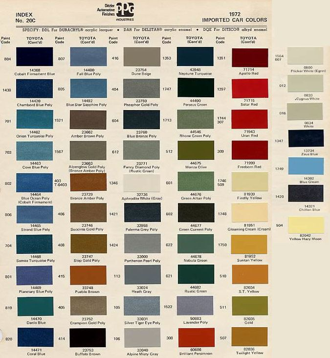 toyota interior color code chart. Black Bedroom Furniture Sets. Home Design Ideas