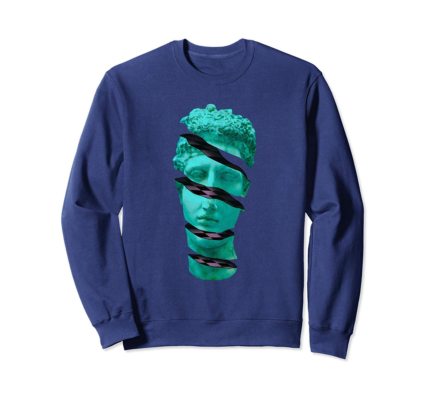 Aesthetic Vaporwave Statue. Sliced Greek Statue Design Gift Sweatshirt #greekstatue