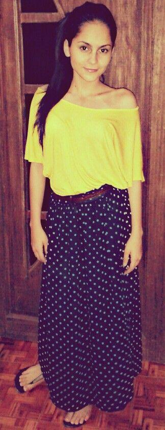 Falda-blusa amarilla   Bohemio