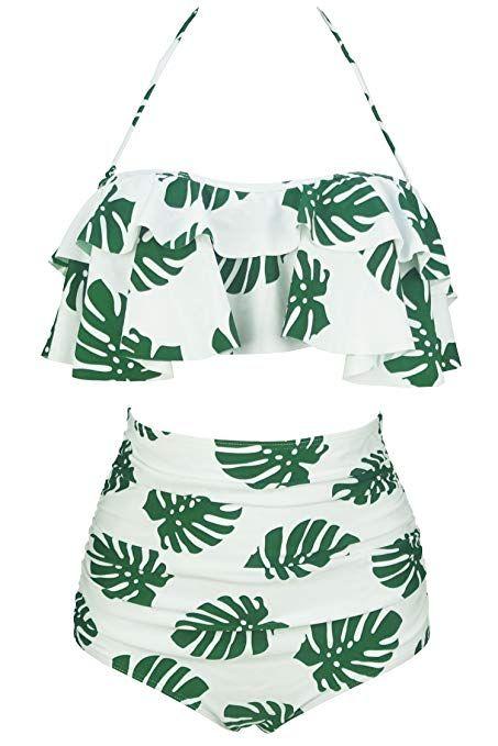 120ab5fd79 Amazon.com  COCOSHIP Women s Retro Boho Flounce Falbala High Waist Bikini  Set Chic Swimsuit(FBA)  Clothing