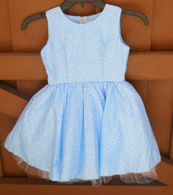 Toddler Party Dress  Blue Flowered Print 4T by SoFabulousKids, $32.50