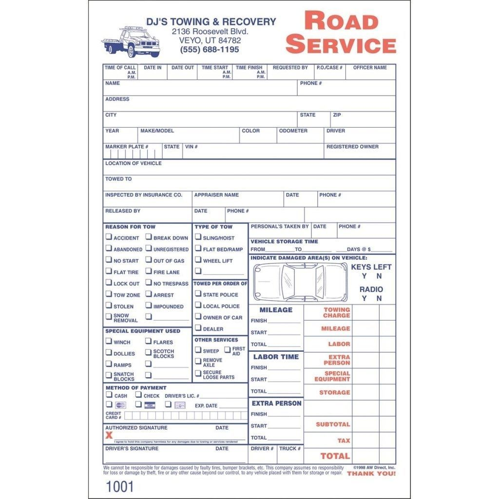 Towing Invoice Templates Printable in 2020 Free towing