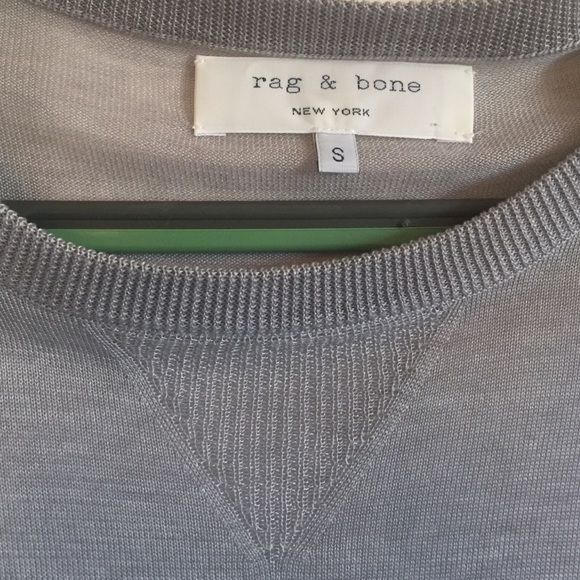 Beautiful Semi-Sheer Thin Gray Sweater Rag & Bone Semi-Sheer long Gray sweater. Beautiful stitch work! Has one tiny snag on back from when I purchased it (see photo). Not noticeable when on as it bunches at that area. rag & bone Sweaters Crew & Scoop Necks