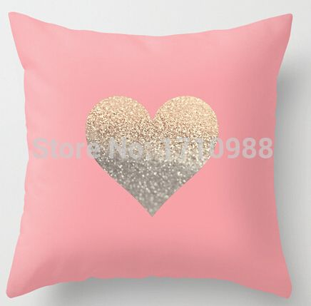 Funny Gold Heart C Two Sides Soft Square Pillow Cases For 12