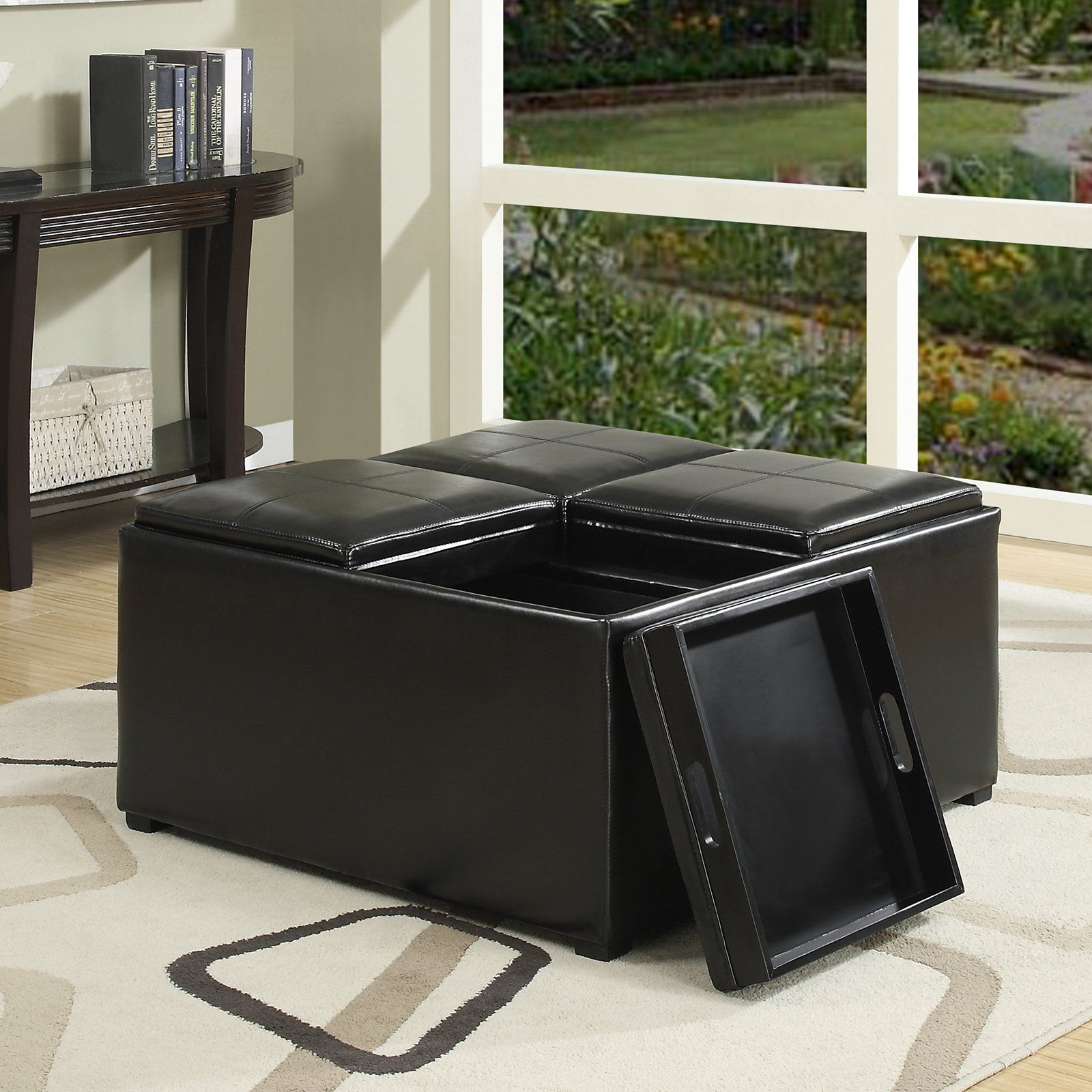Simpli Home Avalon Faux Leather Coffee Table Storage Ottoman   from ...
