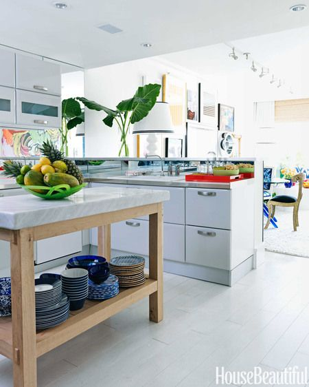 A Colorful and Modern Miami Apartment | Open shelves, Marble top ...